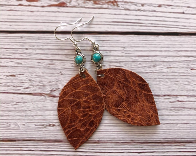 Featured listing image: Tooled Cowhide Leather & Turquoise Teardrop Earrings // Sterling Silver Fishhooks