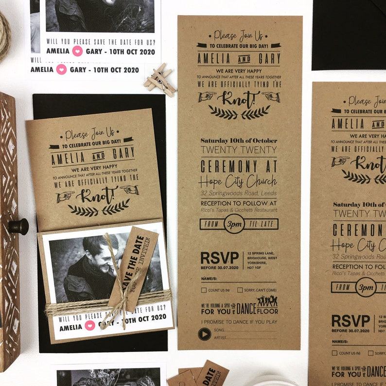 100 x Rustic Craft Photo Wedding Invitation with Black and White Picture