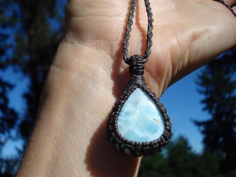 Larimar NecklaceAtlantisLarimar PendantMacrame JewelryLarimar NecklcaeBlue Stone PendantGaiaLarimar JewelryDolphin
