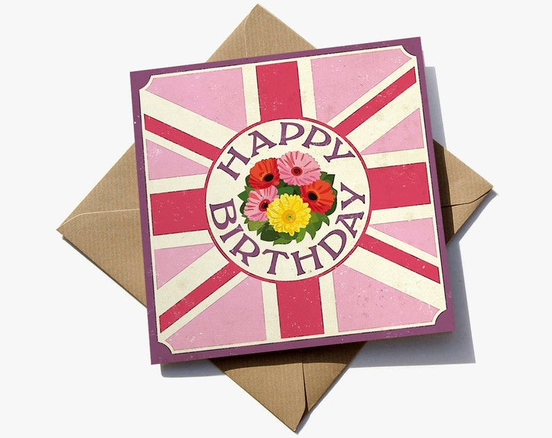FREE Delivery Vintage Birthday Card With Weathered Pink