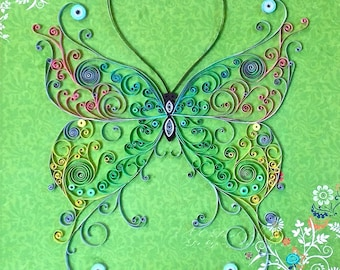 Handmade Quilled Paper Multicolored Butterfly Art