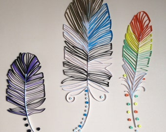Handmade Quilled Paper Feathers Art