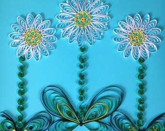 Handmade Quilled Paper daisies- 3 flowers Art