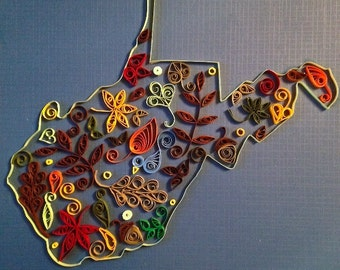 Handmade Quilled Paper West Virginia Mountain State