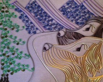 Handmade Quilled Paper Dogs and Mountains Art