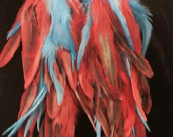 Baby Blue & Red Festive earrings/ Shoulder dusters