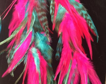 Bright Pink & Auqa Feather duster earrings
