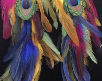 Brazilian feather earrings / Shoulder dusters