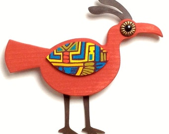 Whimsical Red Mid Century Modern Style Wood Bird Wall Art Decor