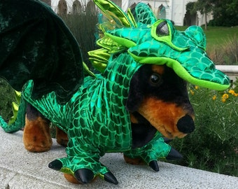 SOLD OUT (available Jan.-June only) Green Dragon costume for Dogs by TKCCOZYPAWZ