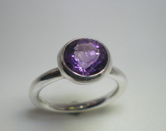 Silver Ring with Round Amethyst