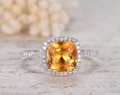 14K white gold 8mm cushion cut citrine diamond halo engagement wedding ring citrine engagement halo ring valentine gift for her