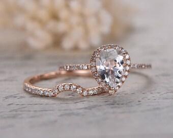 Pear shaped engagement ring set   Etsy