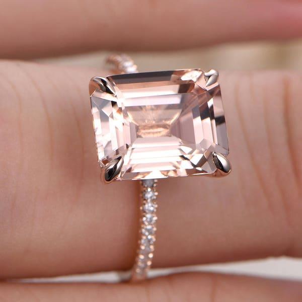 Morganite Ring 14K Rose Gold Solitaire Ring Diamond Wedding image 3