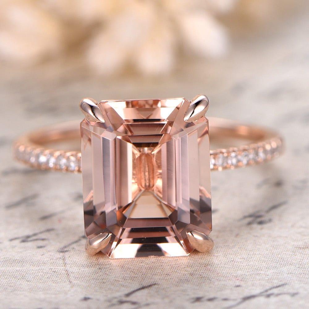Morganite Ring 14K Rose Gold Solitaire Ring Diamond Wedding image 0