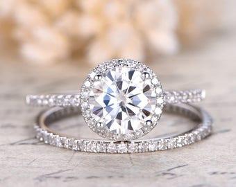 VVS Moissanite Engagement Ring 6.5mm White Gold Moissanite Ring Diamond Wedding Band Solid  1CT  Bridal set Wedding Ring Set Rings For Women