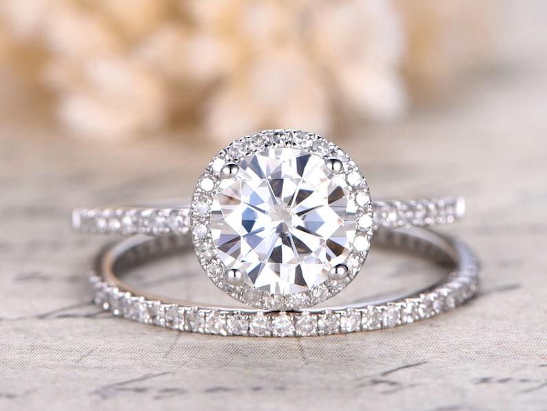 Moissanite Ring Moissanite Engagement Ring Diamond Wedding image 0