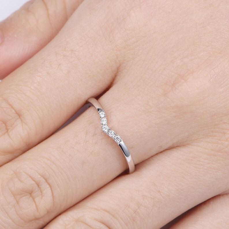 Diamond Curved Wedding Band Half Eternity Ring Soild 14K White Gold Anniversary Band Diamond Ring Art Deco Curved Diamond Matching Band