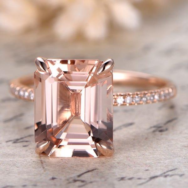 Morganite Ring 14K Rose Gold Solitaire Ring Diamond Wedding image 1