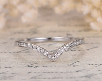 Diamond Wedding Band 14K White Gold Chevron Wedding Band V Wedding Band Curved Wedding Ring Micro Pave Diamond Ring V Ring Women Ring