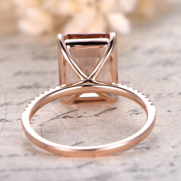 Morganite Ring 14K Rose Gold Solitaire Ring Diamond Wedding image 2
