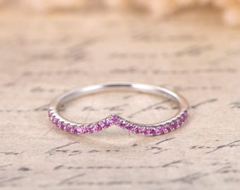 Pink Sapphire V Wedding Band Chevron Wedding Band,Curved V Wedding Ring 14K White Gold,Curved Wedding Ring Micro Pave Diamond Ring V Ring