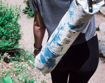 Yoga mat bag. Hand dyed cotton. Yoga bag with pocket. Gift for Yogi. Yoga mat cover with strap Gift under 40