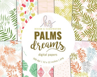Palms Dreams Palm Tree Pattern Digital Paper Pack, Scrapbook Digital Paper, Botanical Digital Paper, Tropical Dot Digital Paper, Palm Tree