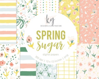 Spring Sugar 14 Digital Papers, Spring Watercolor Digital Pattern Scrapbook Paper Pastel Easter Pink Yellow Digital Scrapbook Paper