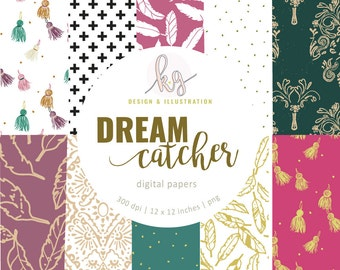 Dream Catcher Fall Pattern Digital Paper Pack, Scrapbook Digital Paper, Tassle Digital Paper, Polka Dot Digital Paper, Feather Digital Paper