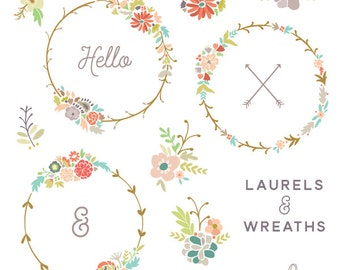 Fall inspired Laurels and Wreaths Set, Floral Bouquet Clip art, Autumn floral Clipart, Including Transparent png's - Personal Use Only