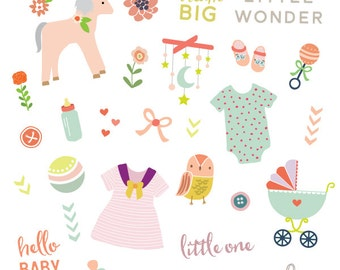 Little Wonder Baby Girl Clipart - Including Transparent png's and editable VECTOR file - Personal Use Only