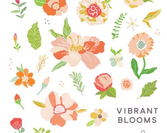 Vibrant Blooms Digital Floral Clipart - Including Transparent png's and editable VECTOR file
