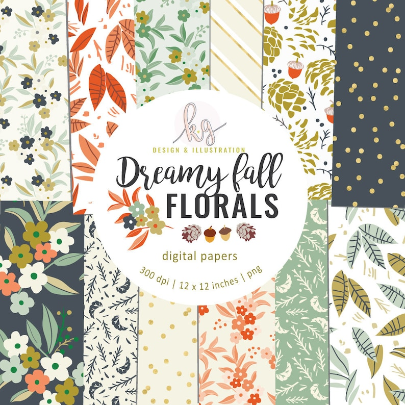 Dreamy Fall Digital Paper Autumn Digital Paper Floral Leaves image 0