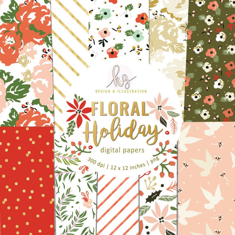 Floral Holiday Christmas Flower Rifle Folk Glitter Striped image 0