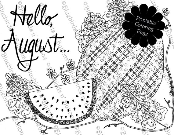 Coloring Page Printable Coloring Page August Coloring Etsy