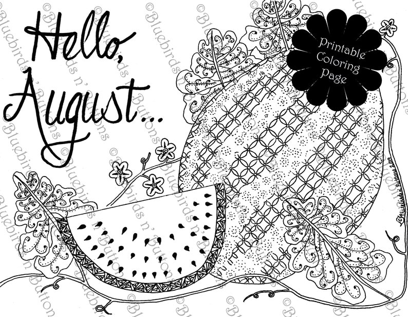 Coloring Page Printable Coloring Page August Coloring Watermelon Coloring Page Download Adult Coloring Page Kids Coloring Pages
