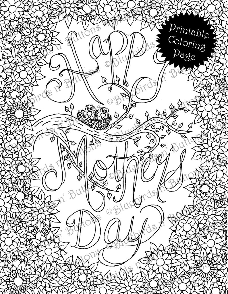 Coloring Page Printable Coloring Page May Coloring Mother S Day Coloring Page Download Adult Coloring Page Kids Coloring Pages