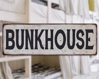 BUNKHOUSE Vintage Look Rustic  Metal Sign Chic Retro 106180035047