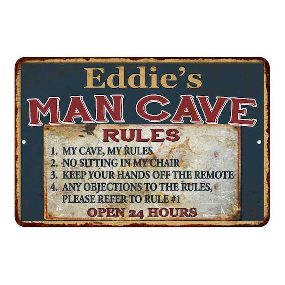 12x 6 Man Cave ~ My Cave  My Rules  Door Sign ~ Custom Wooden Door Hanger ~ Personalized with your Name ~ Customizable ~ Wall Sign