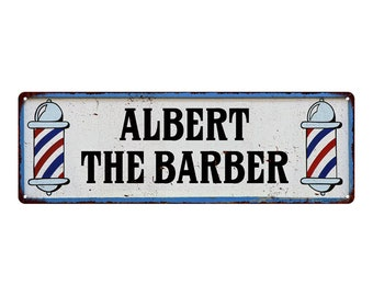 Albert The Barber Custom Vintage Looking Metal Sign Kitchen Bar Wall Décor Garage Game Room Custom Shop 106180031Custom