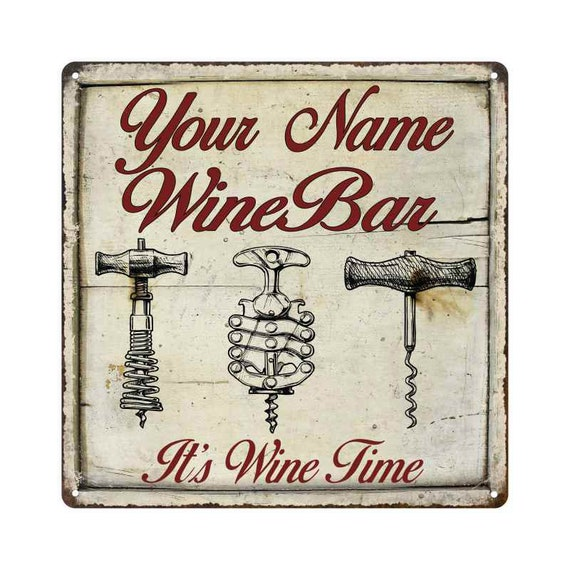 YOUR NAME Wine Bar Personalized Round Red Metal Sign Wall Decor 100140042001