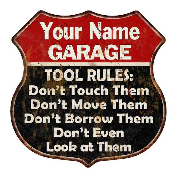 Your Name Garage Tool Rules Personalized Gift 12x12 Red Sign 211110027001
