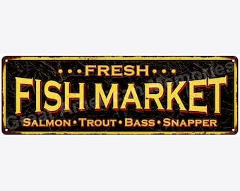 Fresh FISH MARKET Vintage Look Reproduction Metal Sign 6x18 6180545