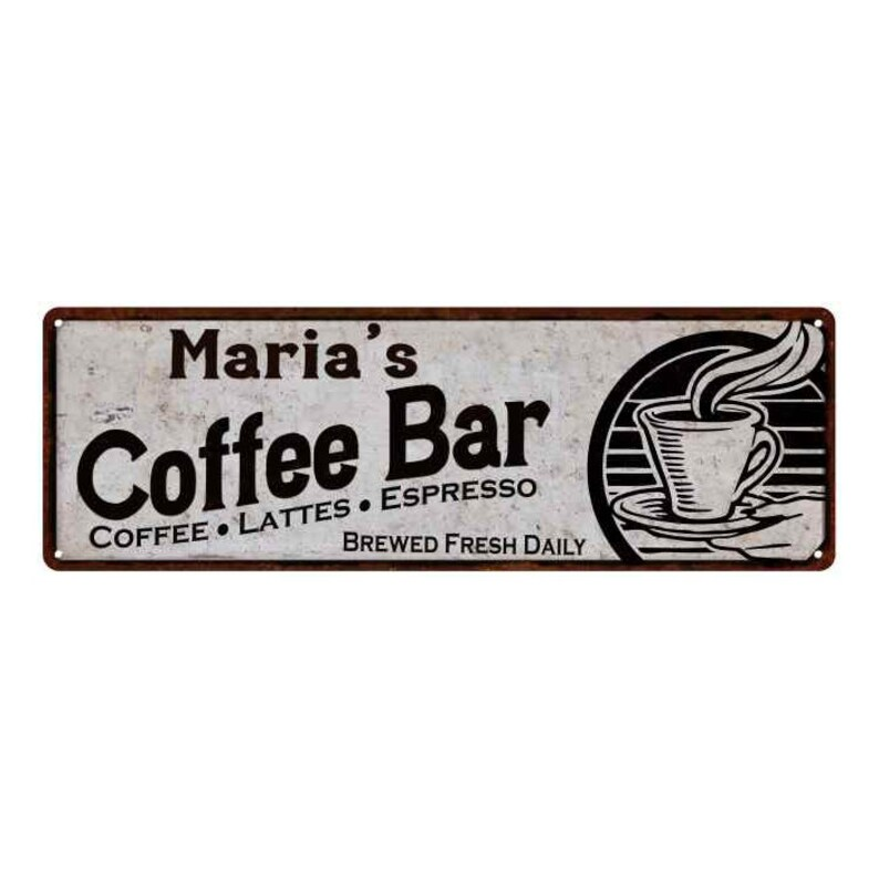 Retro Vintage Aluminium Sign Man Cave Freshly Brewed Coffee For Gift