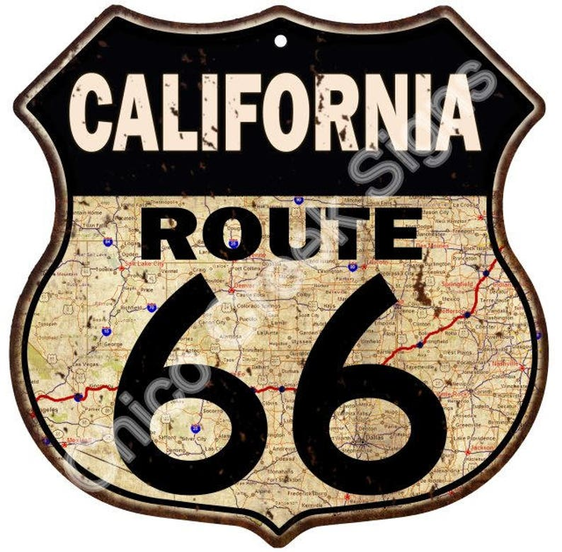 Map Of California Route 66.California Route 66 Road Map Shield Sign Vintage Look Decor Metal Sign S120245
