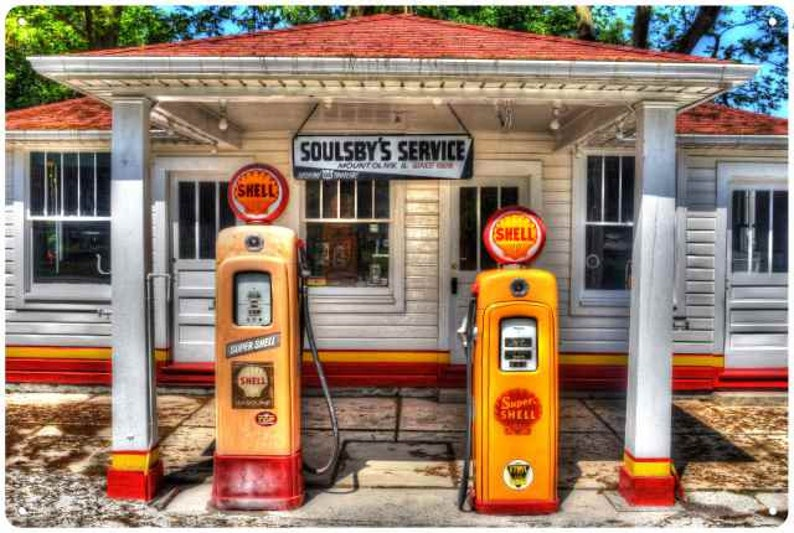 Soulsby Service Station on Route 66 in Mount Olive, Il Vintage Look  Reproduction Metal Sign Garage Shop Oil & Gas