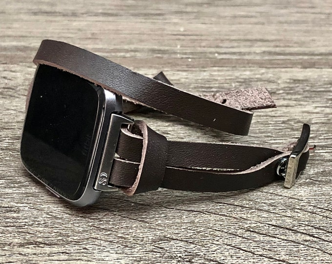 Silver & Dark Brown Leather Fitbit Versa Band Wrap Adjustable Fitbit Versa Bracelet Double Wrap Soft Leather Fitbit Band Jewelry Bracelet