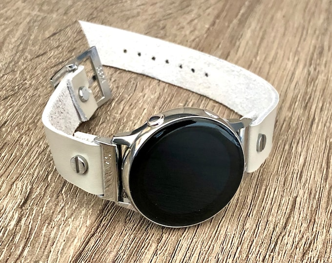 Gray Leather Samsung Galaxy Active Band, Silver Galaxy Watch Active2 Bracelet 40mm 44mm, Silver Watch Band Cuff Wristband
