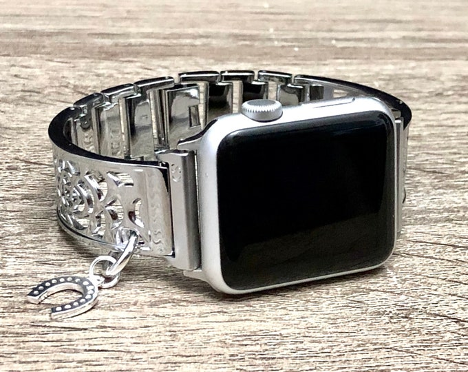 Women Style Apple Watch Bangle 38mm 40mm Band Adjustable Luxury iWatch Band Silver Lucky Horseshoe Medallion Apple Watch 42mm 44mm Bracelet
